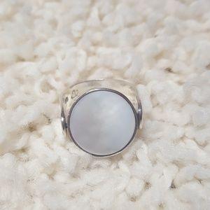 Sterling Silver Onyx & MOP Swivel Ring
